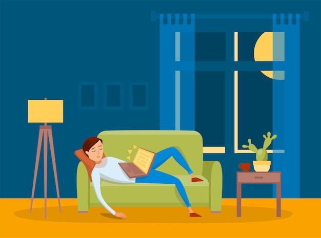 家の図で眠っている若い男