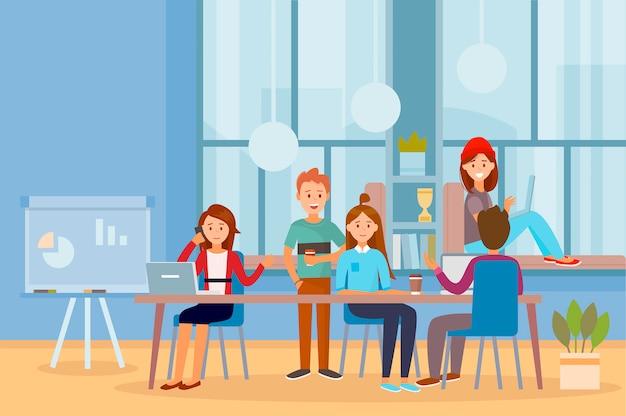 Деловые люди совместной работы работников в офисе, работающих вместе