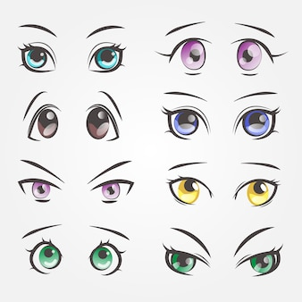 漫画の女性の目。美しい女性の目のクローズアップ