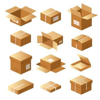 Набор картонных коробок, картонная упаковка, доставка доставка, груз, посылка.