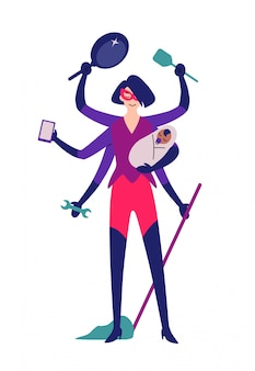 スーパーヒーローの女性が掃除の準備ができて。
