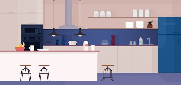 Современный интерьер кухни с мебелью.