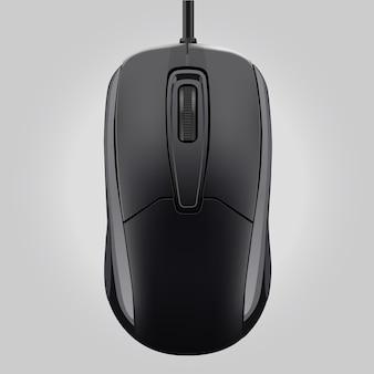 灰色の背景に分離されたホイールとコンピューターの黒いマウス