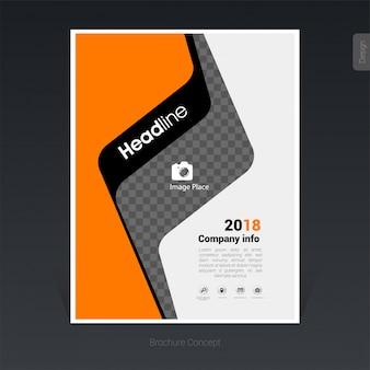 Черный и оранжевый бизнес-брошюра шаблон, дизайн обложки - векторные иллюстрации