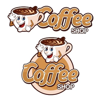 Шаблон логотипа кафе, с забавным персонажем
