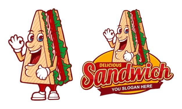 おいしいサンドイッチ、ファーストフードのレストランのロゴのテンプレート
