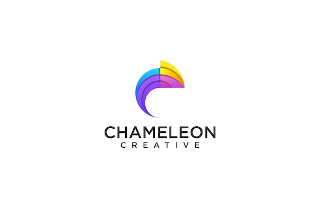 カラフルなカメレオンのロゴ