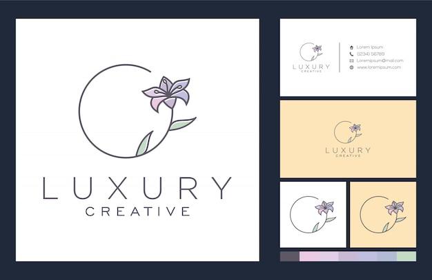 Цветочный логотип и дизайн визитной карточки