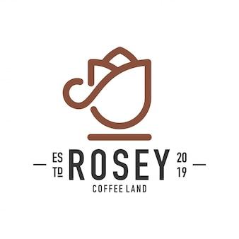 Роза кофе кубок логотип дизайн вектор