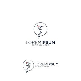 シンプルラインアートキツツキのロゴ