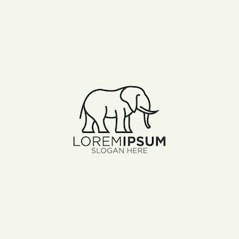 Простая линия искусства слон логотип
