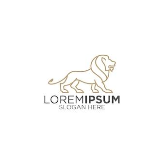 素晴らしいラインアートライオンのロゴ