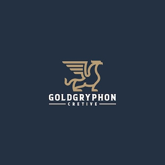 ゴールドグリフォンラインアートロゴ
