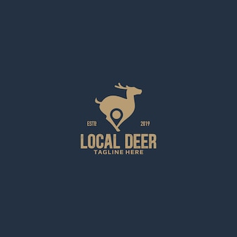 Олень и пин-код локального негативного пространства логотип