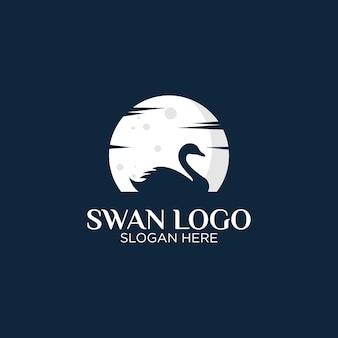 Лебедь и луна логотип