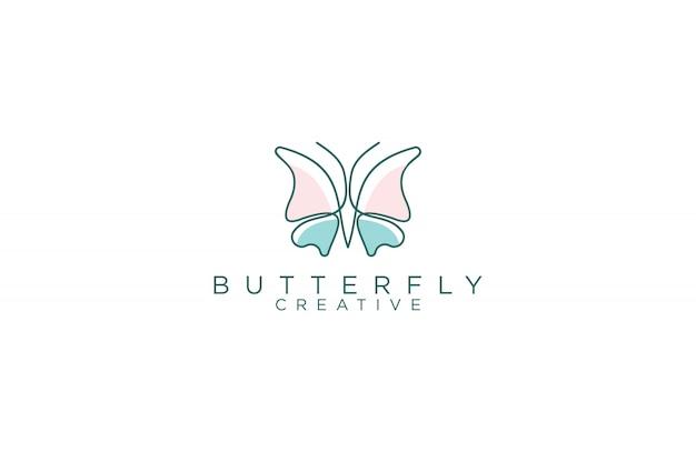 Удивительные линии искусства бабочки дизайн логотипа