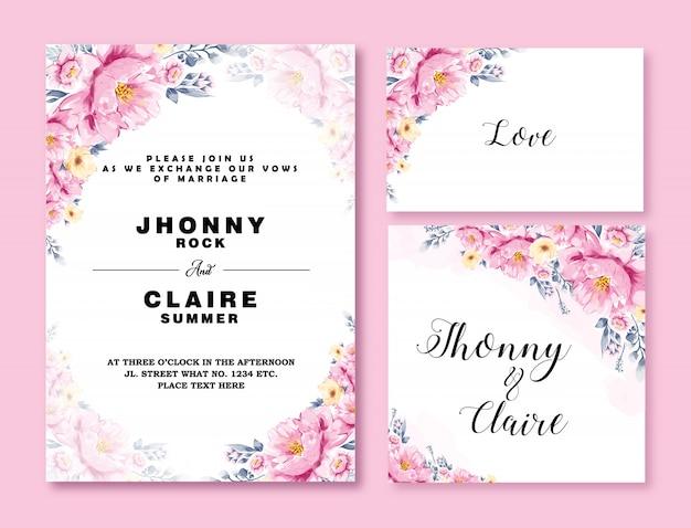 結婚式の招待カードテンプレート水彩花
