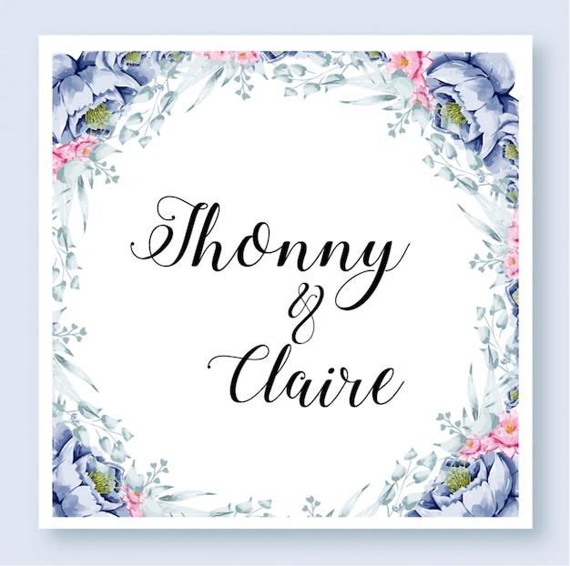 結婚式の招待状のテンプレート花の水彩画