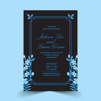 青い水の色の花のフレームと結婚式の招待カード