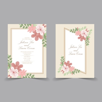 水色の花の要素を持つ結婚式の招待カード