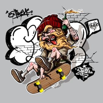 スケートボードに乗っているクレイジーな酔っ払った男の手描きのスタイル