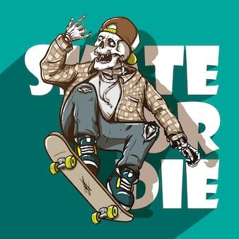 頭蓋骨に乗ったスケートボードの手描きのスタイル