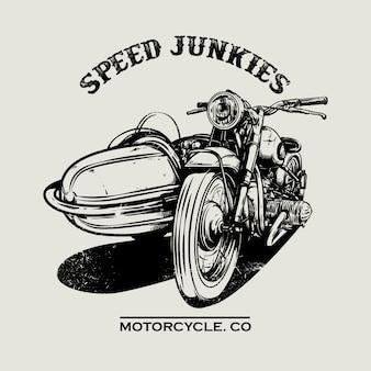 Рисованный старинный мотоциклетный плакат