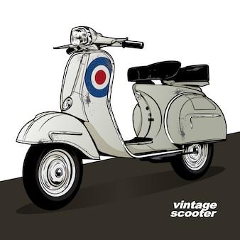 Старинный скутер векторный плакат