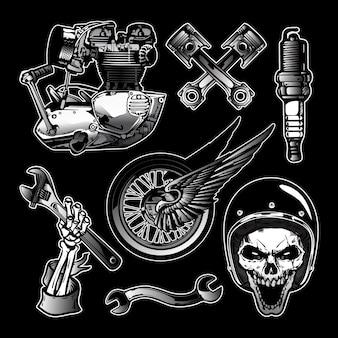 Набор элементов дизайна мотоцикла в винтажном стиле