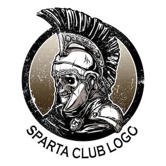 古代のヘルメットを着て手を描いたスパルタンの戦士の頭蓋骨