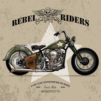 Старинный армейский плакат для мотоциклов