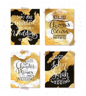 結婚式招待状のフレームセット;葉、水彩