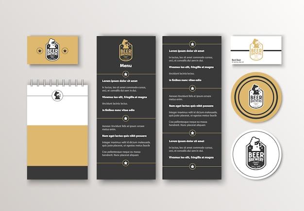 Фирменный стиль. классический дизайн шаблонов канцелярских принадлежностей. документация для бизнеса.