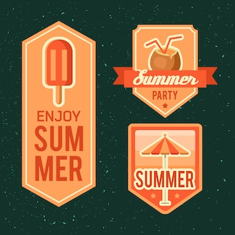 夏のロゴのイラスト。夏の時間、あなたの休日をお楽しみください。
