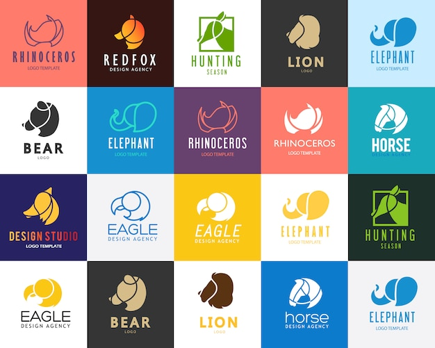 Набор логотипов животных.