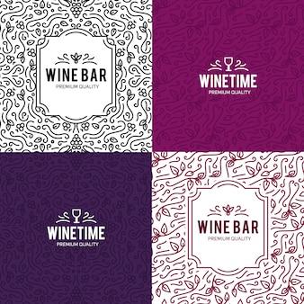 ワイングラスとブドウヴィンテージレタリングの背景