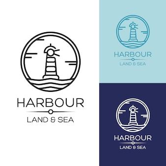 青い海、イラストの背景にフラットアイソメ灯台のアイコン