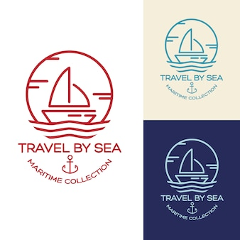 夏のトラベルデザイン - セールボート。海洋コレクションのイラスト