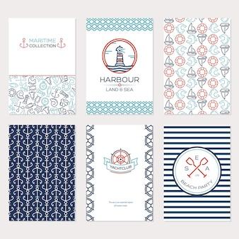 夏の旅行のデザイン。海洋コレクションイラストのセット