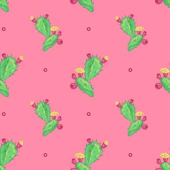 サボテンの花、シームレスなパターン。ポットサボテンのロゴ。サボテンのアイコン