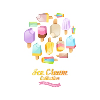 アイスクリームコレクションの背景。円の上にある棒の上の様々なアイスクリーム