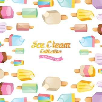 アイスクリームのイラスト。アイスクリームサンデー背景。アイスクリームセット。