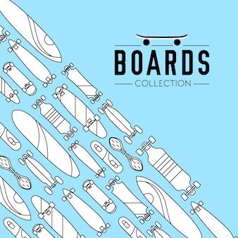 スケートボード付きスケートボードとスケートボードコレクションのバックグラウンド