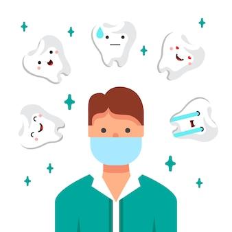 歯医者の医者のイラスト。彼の職場での若い男。歯科医院