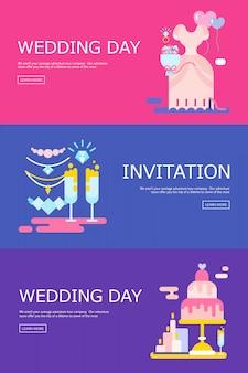 結婚式の招待状のアイコンが設定されたイラスト。
