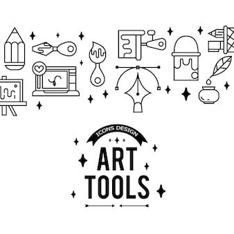 Художественные инструменты и материалы для покраски. иллюстрация в тонком плоском, линейном стиле.