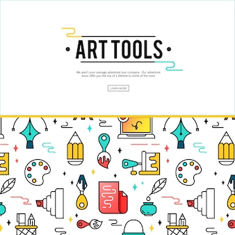 Художественные инструменты и материалы для покраски.