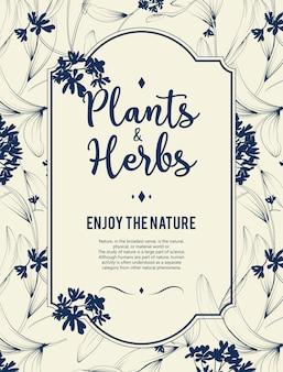 植物とハーブの背景。デザインや招待状の要素の要素