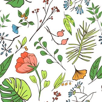 植物とハーブのシームレスなパターン。デザインや招待状の要素の要素