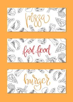 Меню быстрого питания. набор значков на фоне. картофель фри, гамбургер, картофель фри